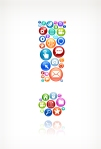 Exclamation Point with Social Technology and Internet Color Icon